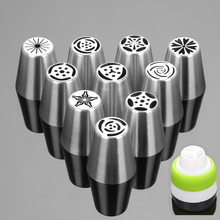 11PCS Stainless Steel Cake Nozzles Russian Pastry Tip Icing Piping Nozzle Decorating Tools Fondant Confectionery Sugarcraft