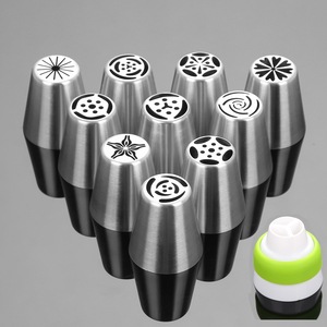 11PCS Stainless Steel Cake Nozzles Russian Pastry Tip Icing Piping Nozzle Decorating Tools Fondant Confectionery Sugarcraft(China)