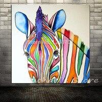 ציור שמן על בד יד מצויר מודרני זברה צבעונית בעלי החיים אמנות קיר סלון זברה בסלון הבית וול תמונות דקור