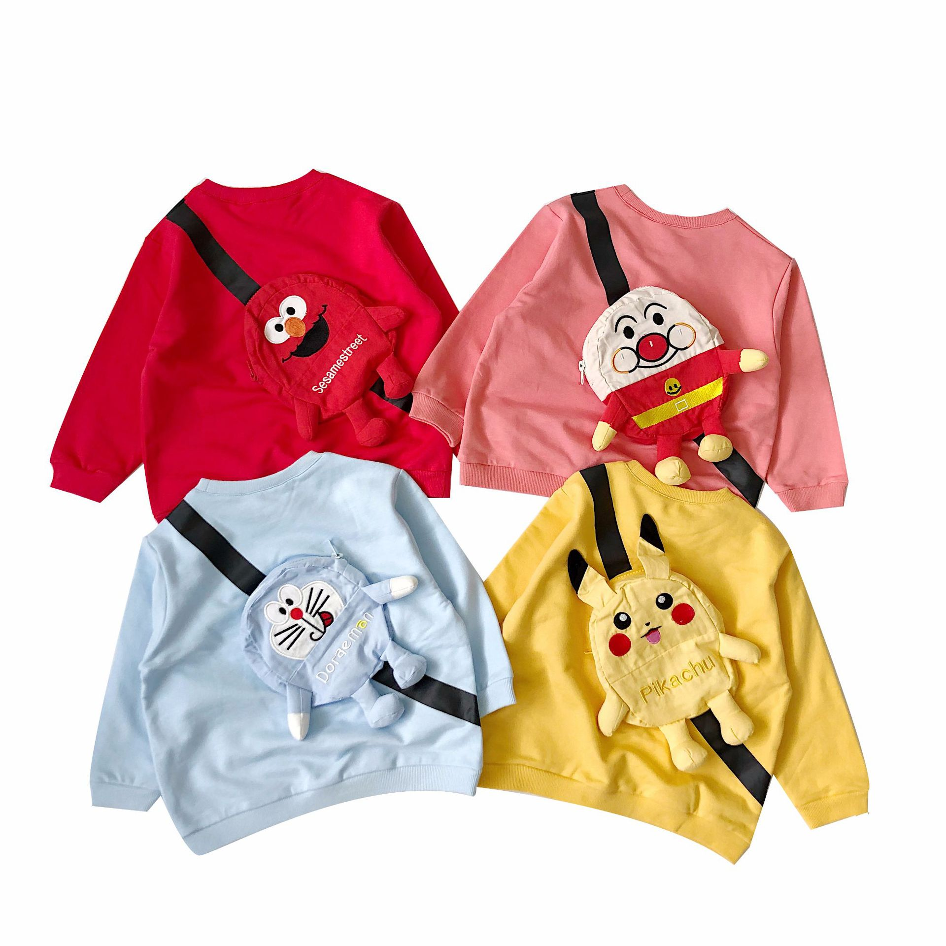 kids sweatshirt solid pink yellow blue colour long sleeve kids tops cartoon character kids sweatshirts(China)