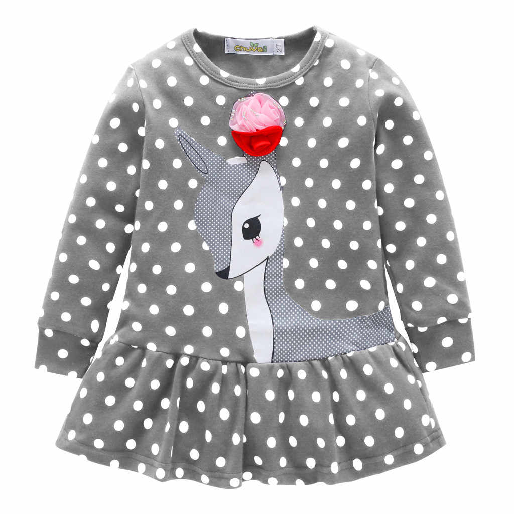 2019 dress elegant for girls baby costume Clothes spring Long Sleeve Cartoon Deer Tops T-Shirt cute child dress Boutique #Q8749