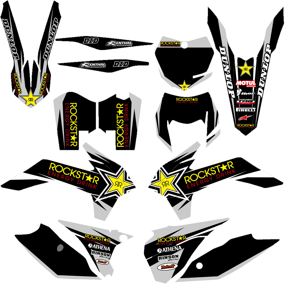 Graphic Matching Background Decals Stickers For KTM 125 200 250 300 350 450 500 EXC EXCF
