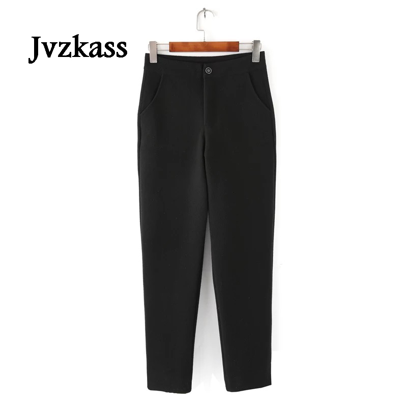 Jvzkass black Points lattice Points Long D'hiver Femelle Radis Z259 Nine Noir Porter Chaud Black Velours black Nouveau Lamb 2018 Épais Agneaux De Occasionnel Pantalon Plus Long Dehors rCrcH