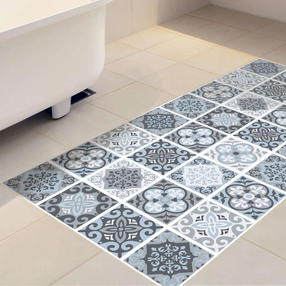 Creative 3D Skid proof Floor Stickers Blue Grey Mediterranean ...