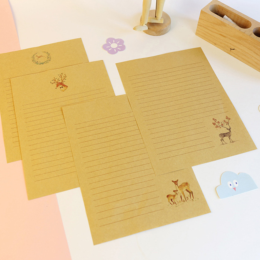 10Pcs/pack Chinese Simple Style Cute Deer Series Kraft Writing Paper Letter Kawaii Gift Office Stationery