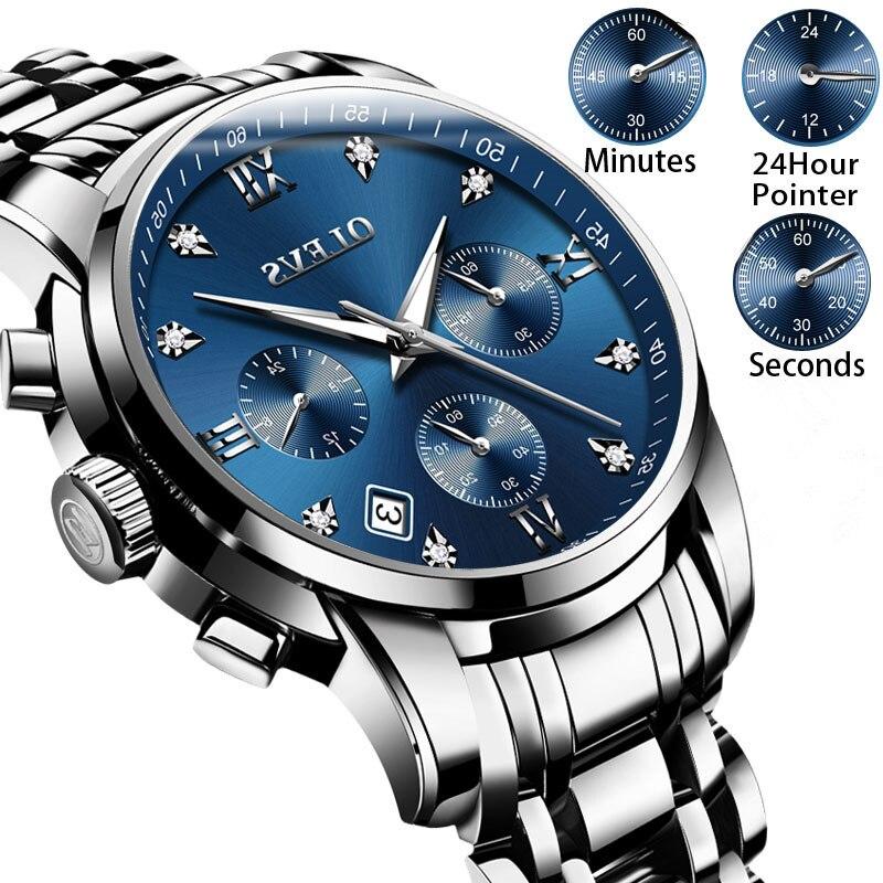 Montre-bracelet Des Hommes Lumineux Montres De Luxe Marque montres Chronographe En Acier Inoxydable Montre Hommes Quartz Horloge Relogio Masculino