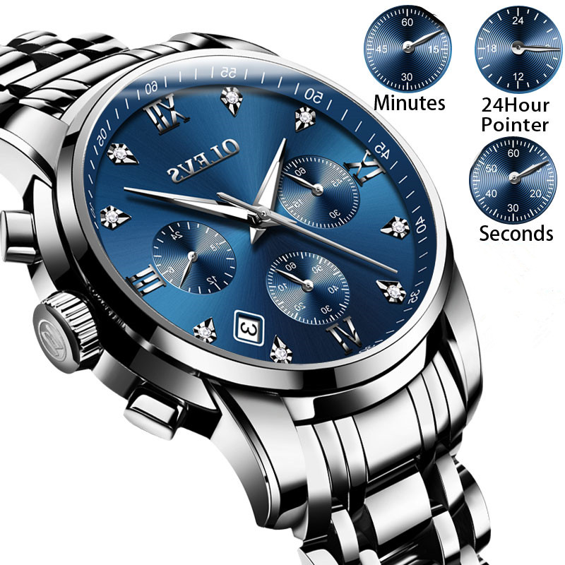 1c00fd158bec Comprar Reloj de pulsera para hombre luminosa relojes de marca de lujo  relojes cronógrafo de acero inoxidable reloj hombres reloj de cuarzo reloj  Masculino ...