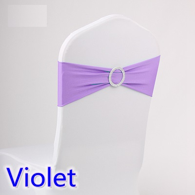 Violet colour wedding chair sash spandex band with diamond buckle for chair covers lycra bow tie spandex sash ribbon on sale