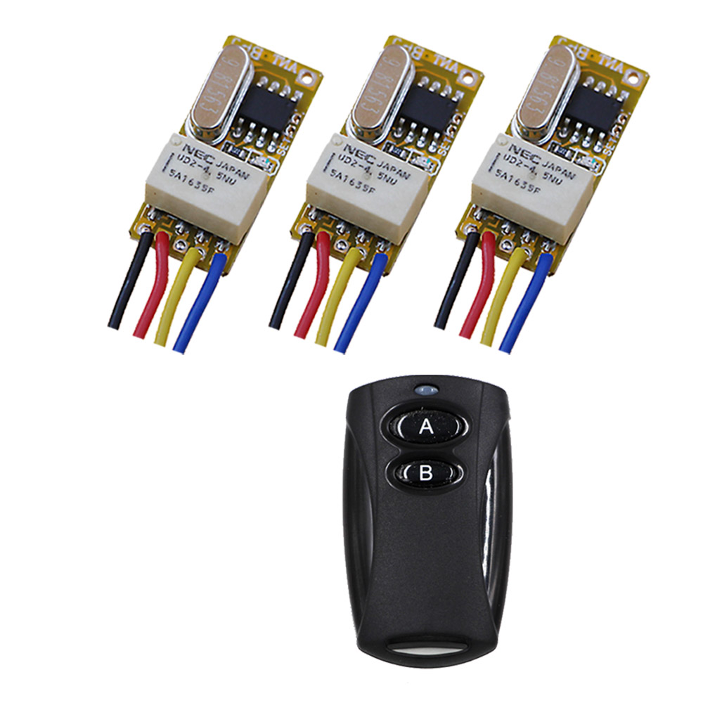 Two Buttons Relay Switches RF Remote Switch 3.6V 4.5V 5V 6V9V 12V Wireless Remote Switch NO COM NC Momentary Toggle 315mhz dc 12v relay remote switch no com nc contact wireless switch 2a relay rf rx normally open close lithium aaa battery supply ask