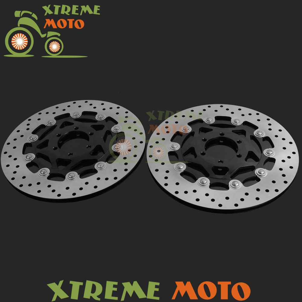 1 Pair Black Motorcycle Front Floating Brake Disc Rotor For XJR400 FZR600 FZS600 FZ750 TDM850 TRX850 FJ1200 Dirt Bike Motocross rear brake disc rotor for yamaha fz400 srx400 xjr400 fz600 fzr600 fzs600 srx600 xj600 yzf600 yzf750r tdm850 tdm900 yzf1000