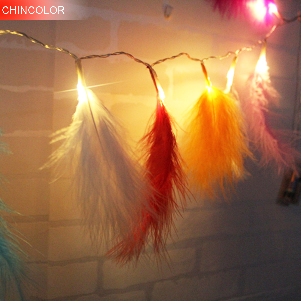 1.2/2.2m 10/20leds Holiday Lights Beautiful Feather Led Light String Xmas Christmas New Year Garland Wedding  Fairy Decor BF