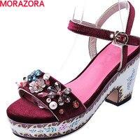 MORAZORA/Новое поступление модные летние обувь, расшитая стразами квадратный Обувь на высоком каблуке пряжки сплошной вечерние туфли большие р