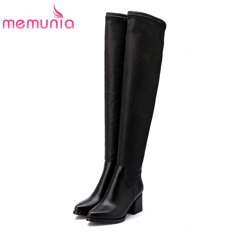 MEMUNIA Genuine leather boots woman over the knee boots for women high heels shoes fashion stretch long boots big size 34-43 memunia 2017 autumn new arrive long boots for women solid zip knee high boots large size 34 43 fashion high heels boots