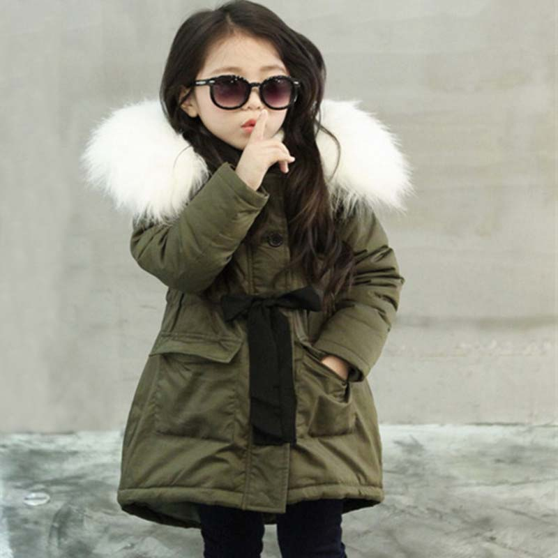 b35addaaa8651 Army Green Kids Little Girls Parka Jacket Coat with Faux Fur Hooded Winter  Thermal Warm Fleece Lined Parkas Children s Clothing-in Down   Parkas from  Mother ...