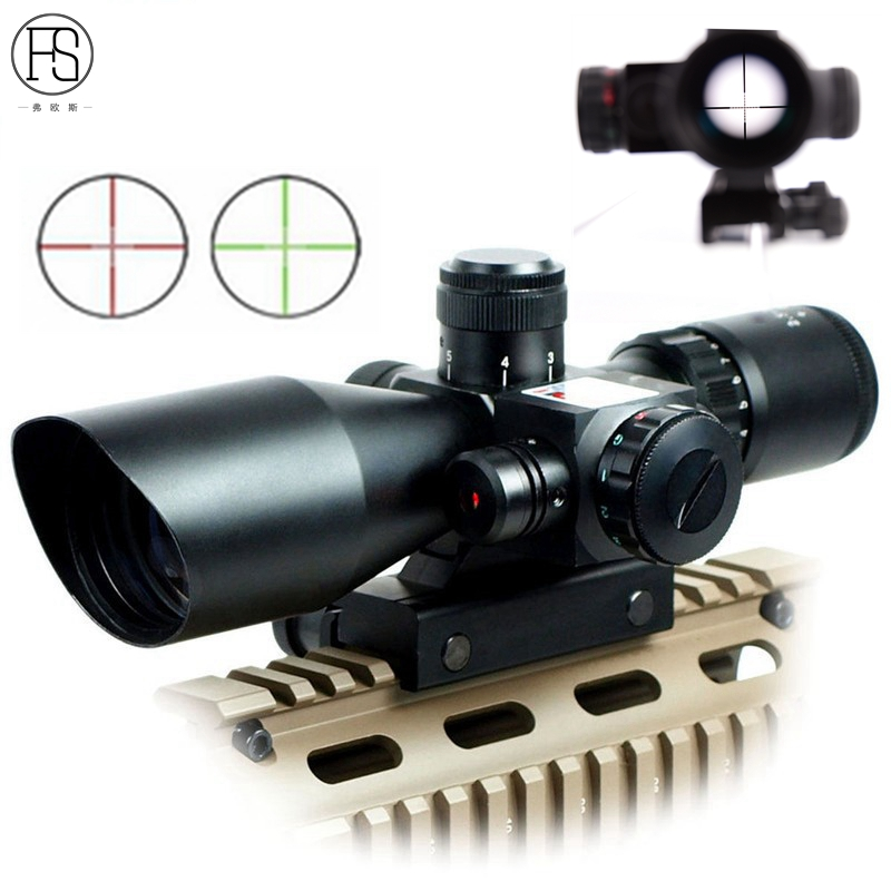 M9 Hunting Tactical 2.5-10x40 Red/Green Mil-dot Optics illuminated Rifle Scope Sight + Red Laser sight compact m7 4x30 rifle scope red green mil dot reticle with side attached red laser sight tactical optics scopes riflescope