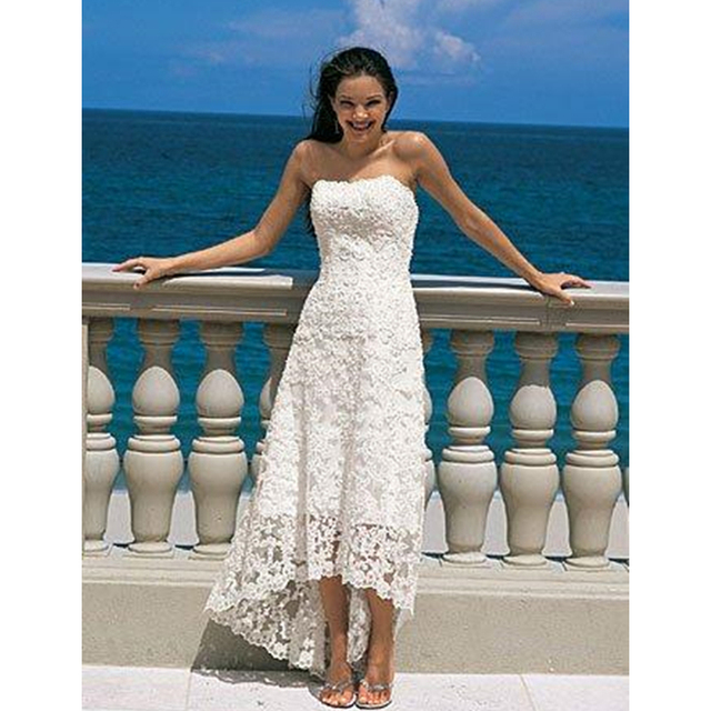 Front Short Back Long High Low Wedding Dresses Pregnant Dress Strapless A line Lace Layer Beach Holiday Honeymoon Bridal Dress