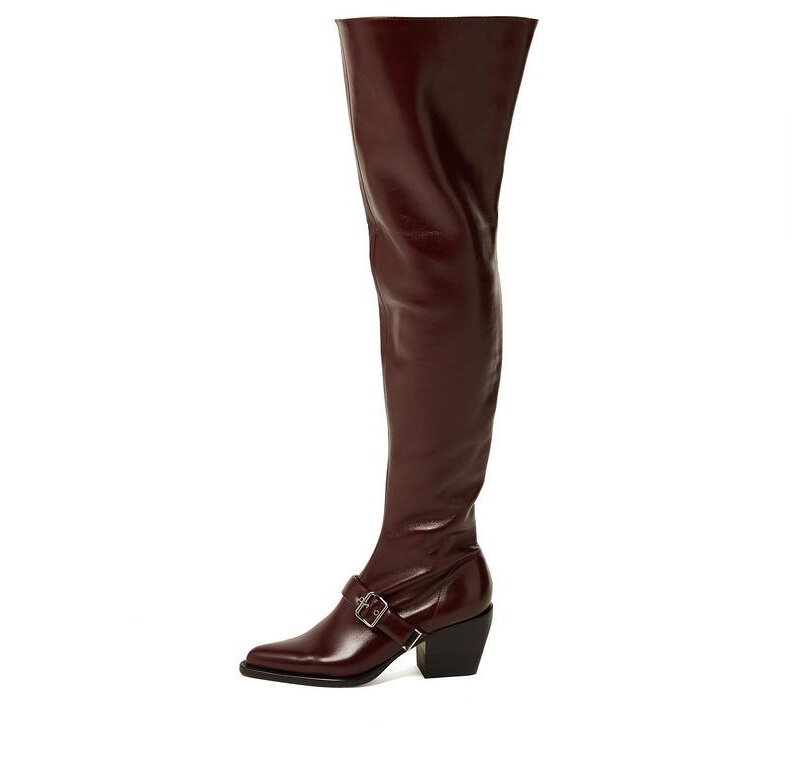 New Arrivals Wine Red Leather Over The Knee Boots Womens Square Heel Winter Boots Women Zipper Buckle Round Toe Long BootsNew Arrivals Wine Red Leather Over The Knee Boots Womens Square Heel Winter Boots Women Zipper Buckle Round Toe Long Boots
