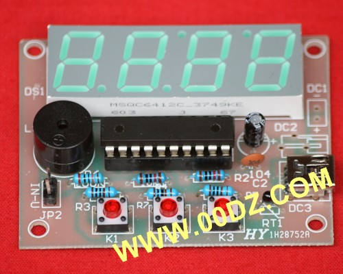 The latest digital voltage meter + digital thermometer electronic production of single-chip electronic parts Training Kit the development of 51 single chip learning board 4 4 4 color led lightdiy electronic parts cotted production suite
