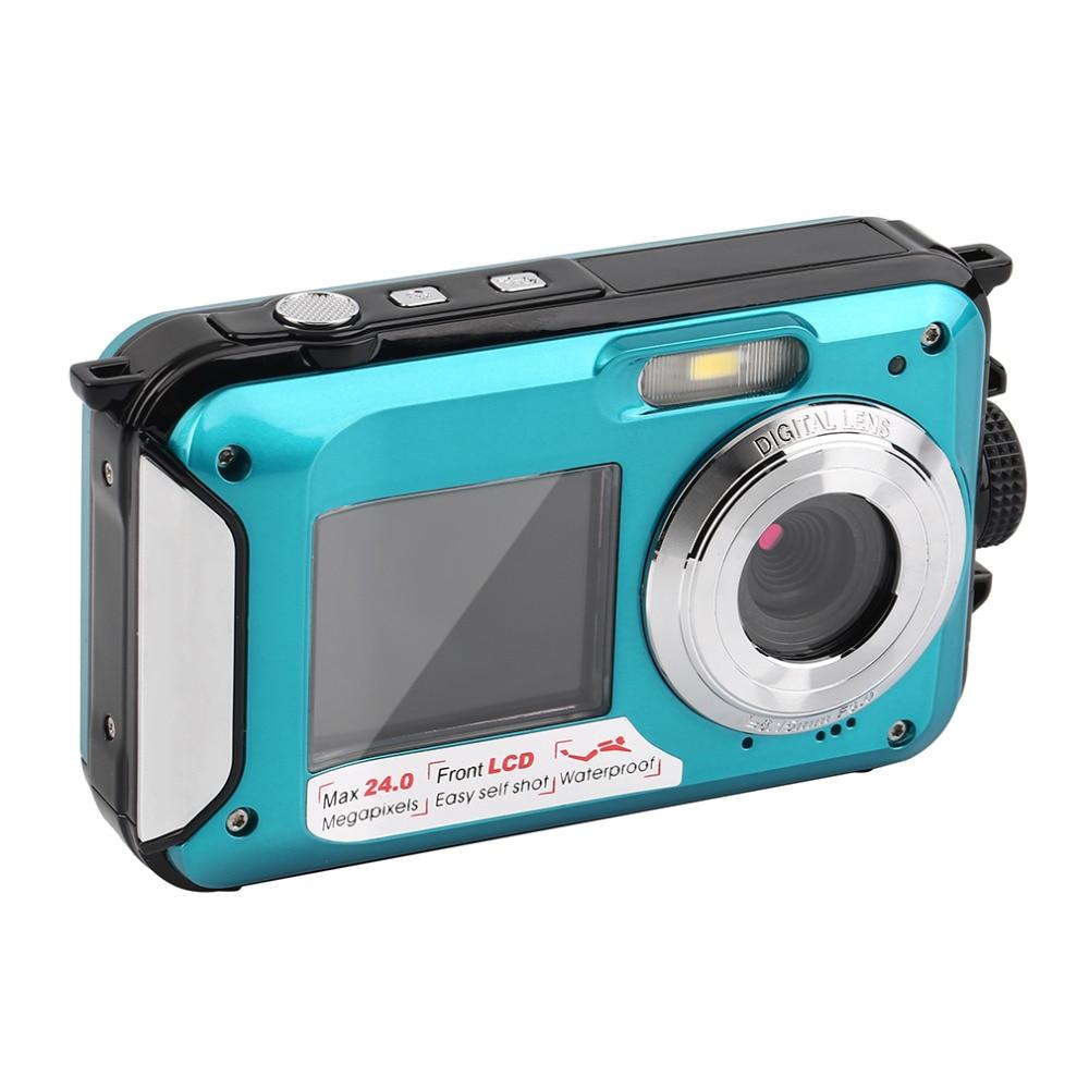 Digital Camera Waterproof 2.7 inch TFT 24MP 1080P Double Screen Shockproof 16x Digital Zoom Camera Camcorder Point Shoot Cameras