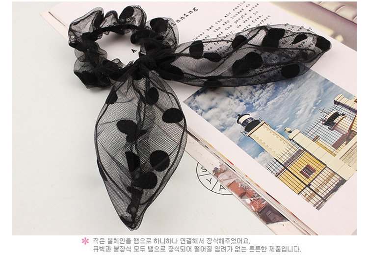 New arrival Women fashion lace Rabbit ears hair bands girl's lovely bow gum Hair accessories rubber rope headwear(China)
