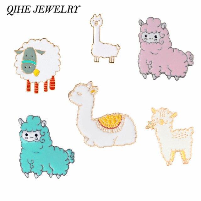 QIHE QH-GIOIELLI Alpaca pin di Pecora spille Cartoon spilla Distintivi e Simboli Risvolto pin Carino Gioielli Kawaii per le ragazze Alpaca collezione di gioielli