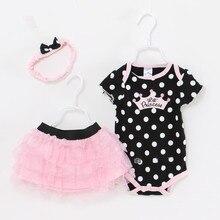 Летняя одежда для маленьких девочек, комплекты одежды из 3 предметов для новорожденных, детские костюмы для младенцев, боди для девочек (ком...