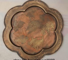 9492ca3a3ec5 China Royal Old Bronze Copper Havoc Heaven Sunwukong Monkey King Dish Plate  Tray