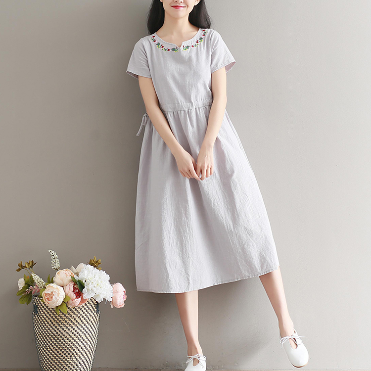 b03d214901 Latest summer western lady long dress fashion elegant linen dress-in ...