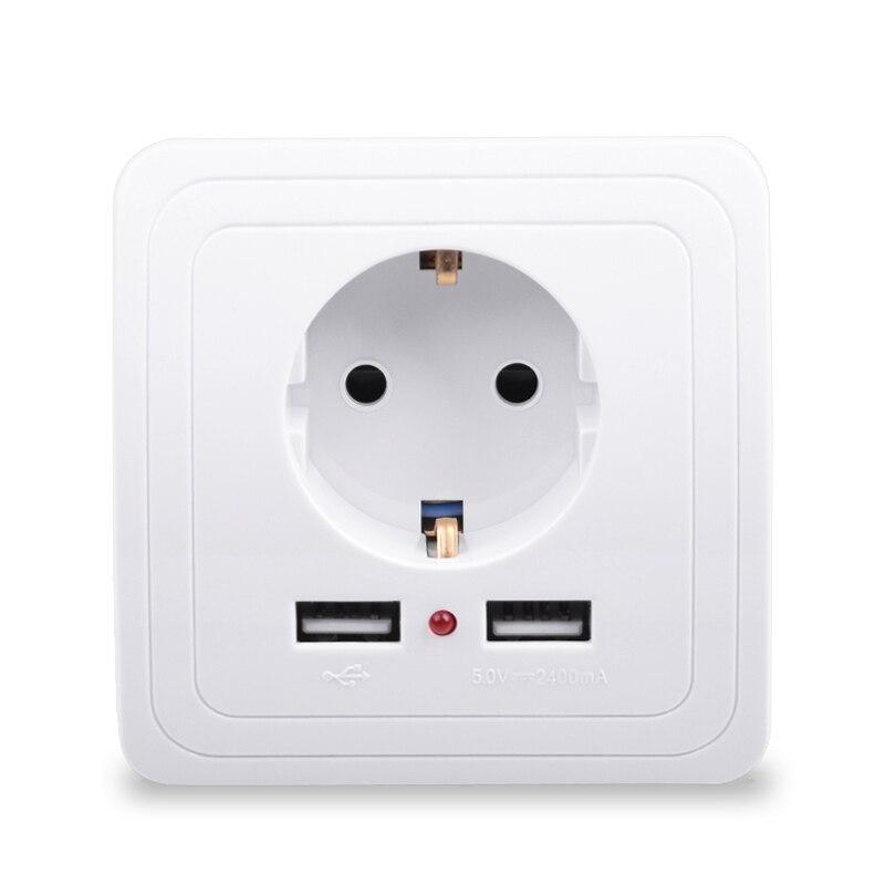 Smart Home mejor puerto USB Dual 2400mA adaptador/cargador de pared 16A enchufe eléctrico estándar de la UE panel de toma de corriente 110 ~ 250V UE/WiFi inteligente pared luz Dimmer interruptor regulador de vida inteligente/Tuya Control remoto APP funciona con Alexa de Amazon y Google