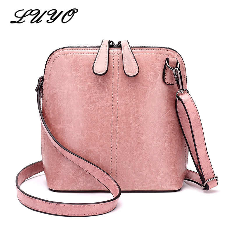 LUYO Brand Patent Leather Small Shell Women Messenger Bags Vinatge Crossbody Bags For Women Carteras Mujer Shoulder Bag Purses