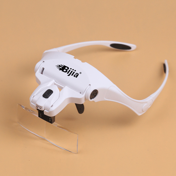 Bijia 1.0X 1.5X. 2.0X 2.5X 3.5X Kacamata Magnifier Dipertukarkan 5 Buah Lensa Pembesar Kacamata 2 LED untuk Memperbaiki Makeup