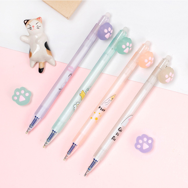 Blue Ink Cat Claw Gel Pens Cute Erasable Pens Kawaii Neutral Pens For Kids Girls Gift School Office Supplies Novelty Stationery