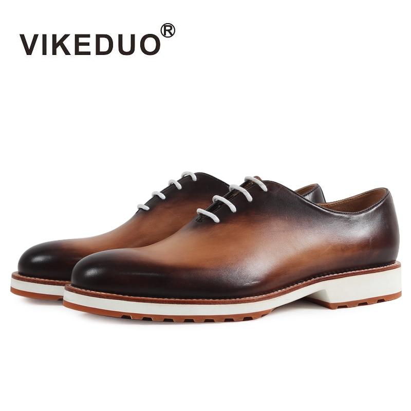 VIKEDUO New Fashion Crocodile Style2017 Vintage Retro handmade Mens Oxford Shoes wedding party Dress shoes 100% Genuine leather