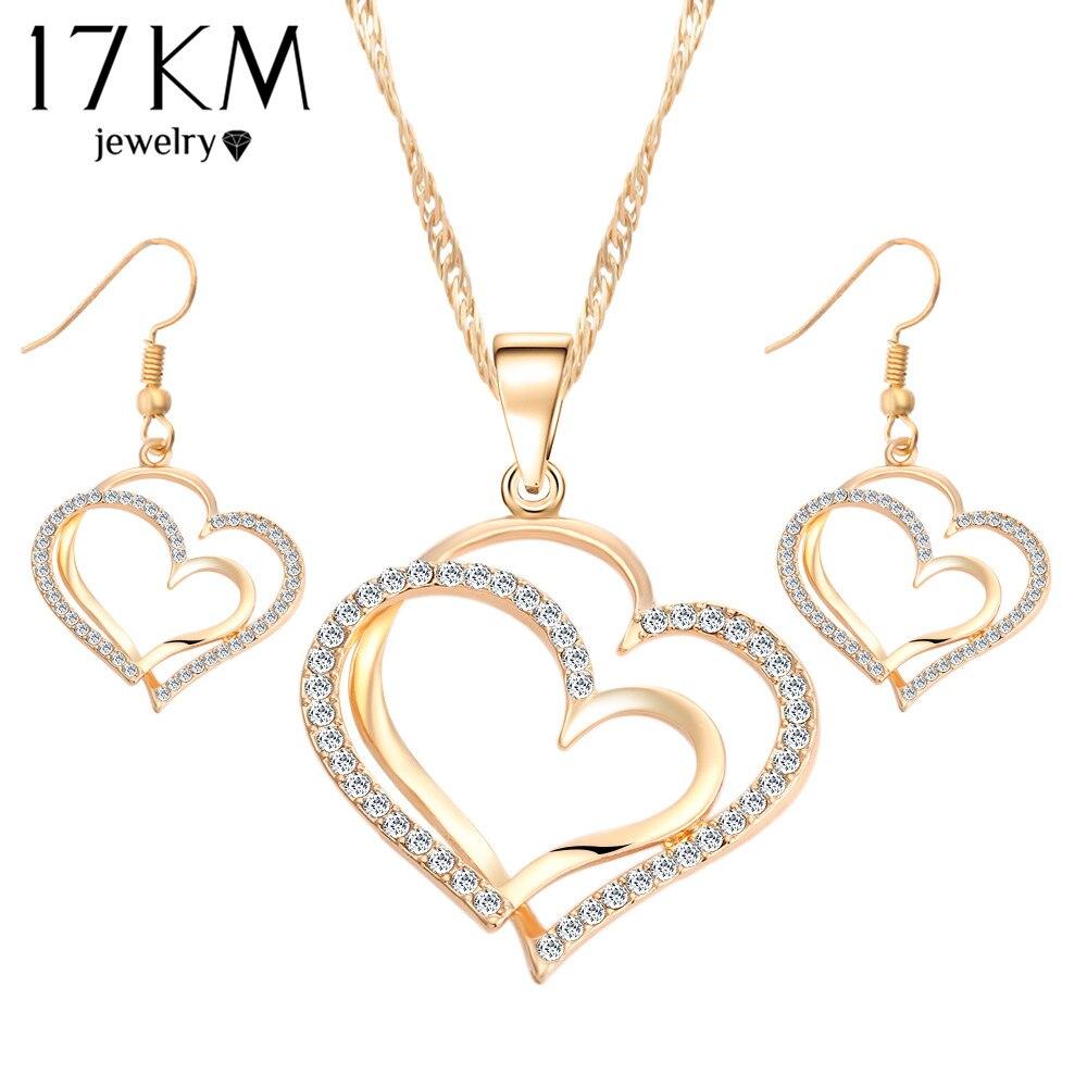 17KM Romantic Heart Pattern Crystal Earrings Necklace Set Sis