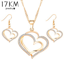 Romantic Heart Pattern Crystal Earrings Necklace Set Silver Gold Plated Chain Jewelry Sets Wedding Jewelry Valentine's Gift