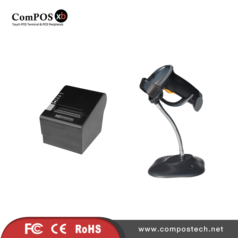 Commercial retail POS systems thermal printer with barcode scanner for restaurant 2d wireless barcode area imaging scanner 2d wireless barcode gun for supermarket pos system and warehouse dhl express logistic