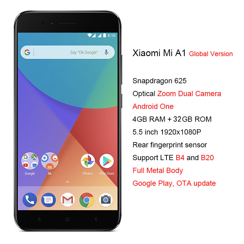 US $174 99 |Global Version Xiaomi Mi A1 4GB RAM 64GB ROM Smartphone  Snapdragon 625 Cellphone 5 5 Inch Dual Cameras 12MP 4G LTE Android One-in  Mobile