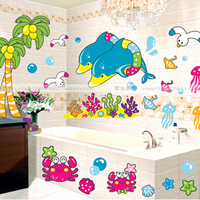 Cartoon dolphin vinyl wall decals for children kids room for Vinyl window designs ltd complaints