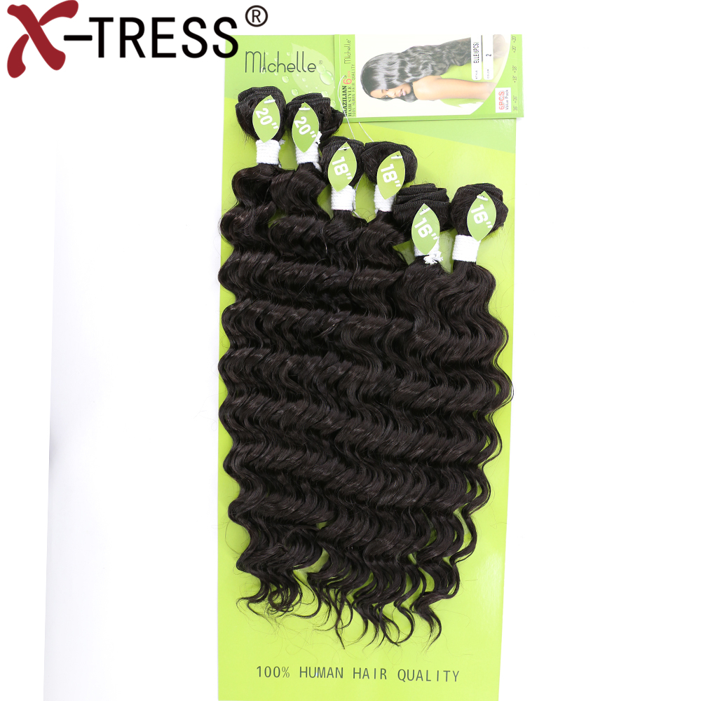 X-TRESS Deep Wave Sew in Weave Synthetic Hair Wefts Full Head Sew in Weave Hair Extensions Natural Black 6pcs/set 16-20 inch