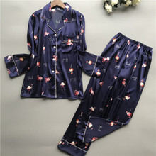 Daeyard Fashion Silk Pajama Sets Print Long Sleeve Blouse And Pants Two Pieces Pyjamas Sleepwear Casual Home Clothes Nightwear
