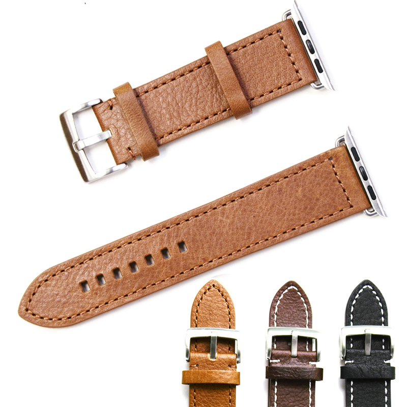 Retro Style Genuine Leather Strap For Apple Watch iWatch 42mm 38mm Vintage Real Leather Watch Band For Apple Watch Series 3 2 1 band for apple watch 38mm 42mm character modeling style genuine leather strap for iwatch series 1 2 3 strap gift for iphone case