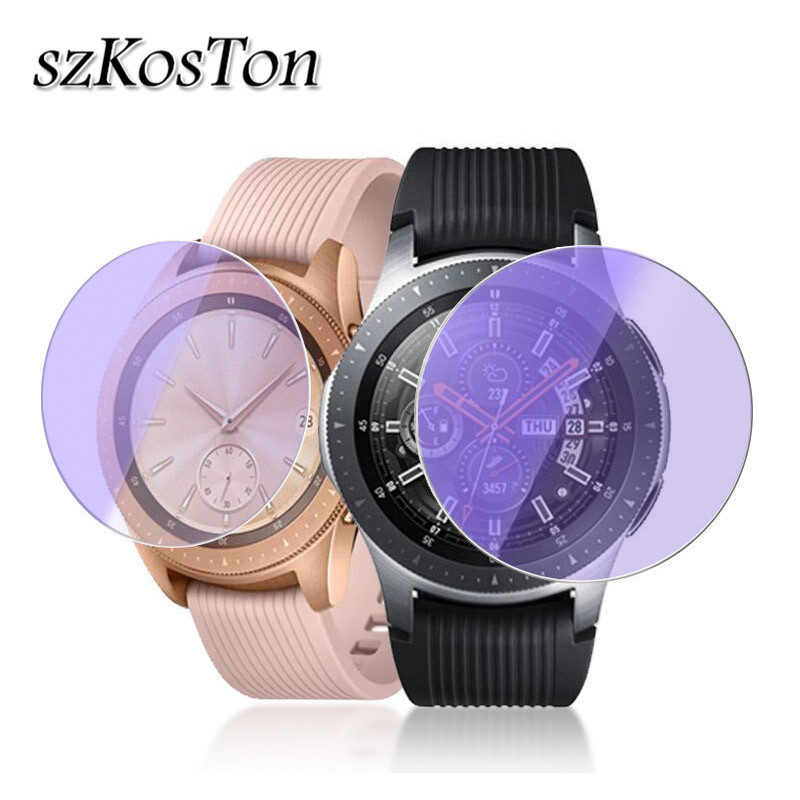 HD Tempered Glass Screen Protector For Samsung Galaxy Watch Glass 42mm 46mm 2.5D Round Edge Purple Light Protective Glass Film