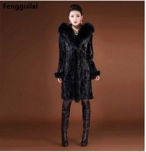 2018 Winter Warm Coats Women Slim Long Leather Wool Coat Jacket Fur Faux Jackets 12