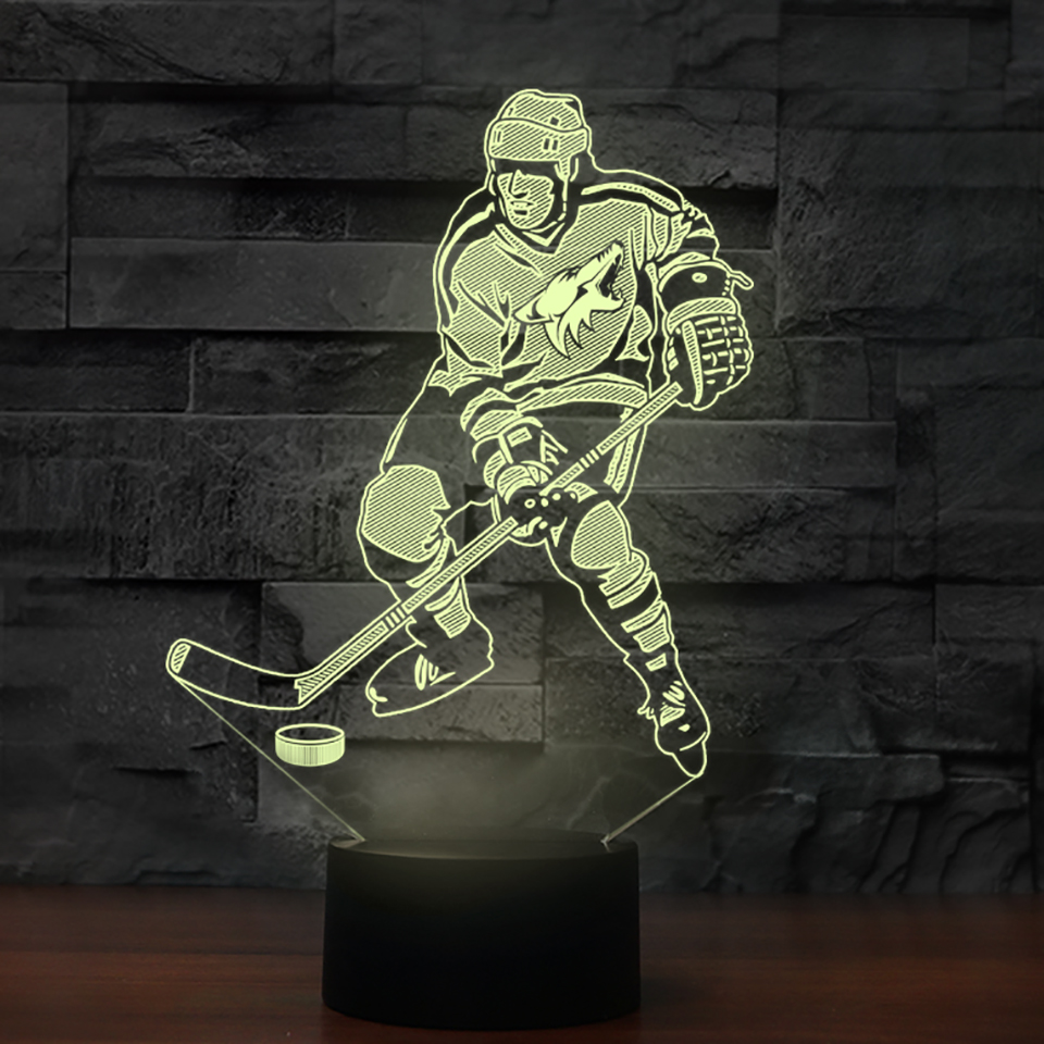 3D Luminous Ice Hockey Player Shape Led Table Lamp 7 Colors Changing Home Living Room Decor Light Fixture Baby Sleep Night Light 3d luminous ice hockey player shape led table lamp 7 colors changing home living room decor light fixture baby sleep night light