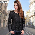 Diamond Patchwork Leather Jacket Female 2016 Spring Outerwear Plus Size Women's Slim PU Leather Motorcycle Coat