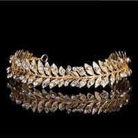 Fashion Gold Metal Baroque Leaf Headband Hairband For Women Wedding Hair Accessories Tiara Headpiece Jewelry