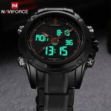 Brand NAVIFORCE Watches men luxury Full Steel Quartz Clock LED Digital Watch Army Military Sport wristwatch relogio masculino
