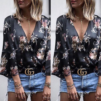 Women Long Sleeve Loose Print Blouse 1