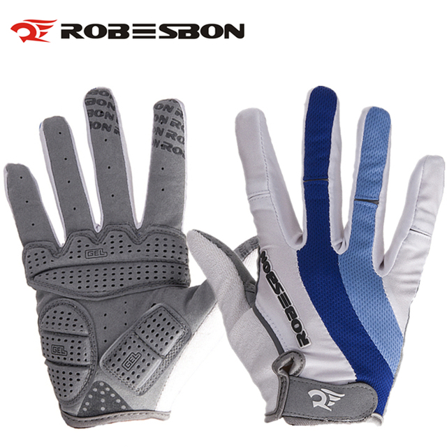 Robesbon White Long Finger Knight Bicycle Gloves Gel Colorful