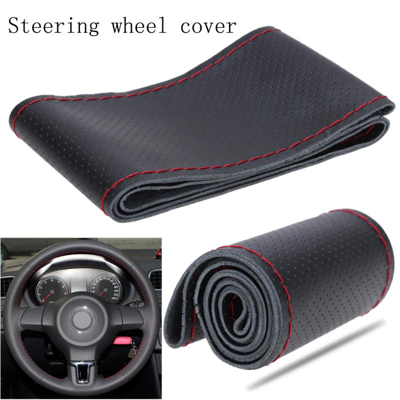 Synthetic Leather Breathing Microfiber Sewing Car Steering Wheel Cover with Red Sewing Thread for Car Bus Truck 36/38cm